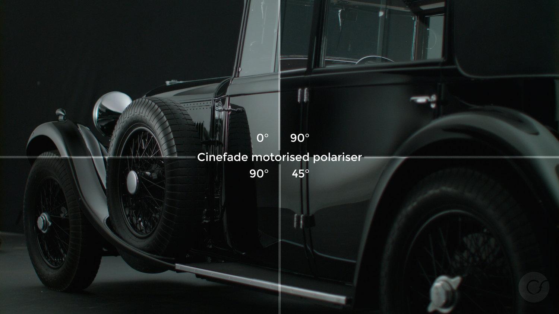 Cinefade Motorised Polariser automotive reflections
