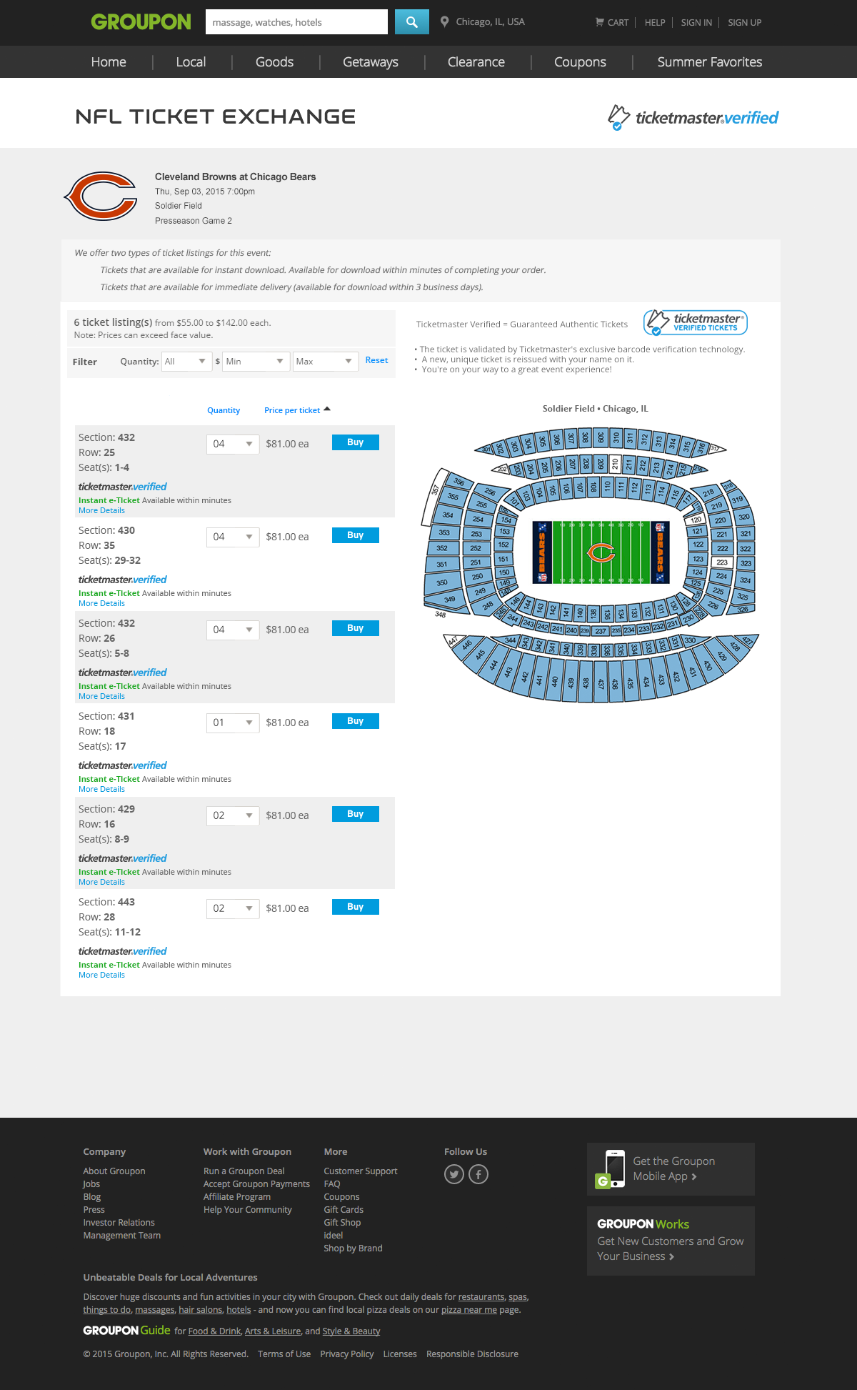 NFL TE  Ticket Listing Page Integration