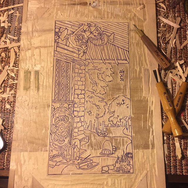 """Moku-hanga keyblock carved . My first attempt at the Japanese wood block print method. This is the outline layer, and more blocks will be carved for the colours. Title of the piece is . """"The space between thoughts""""  #mokuhanga #huachumaceremony"""