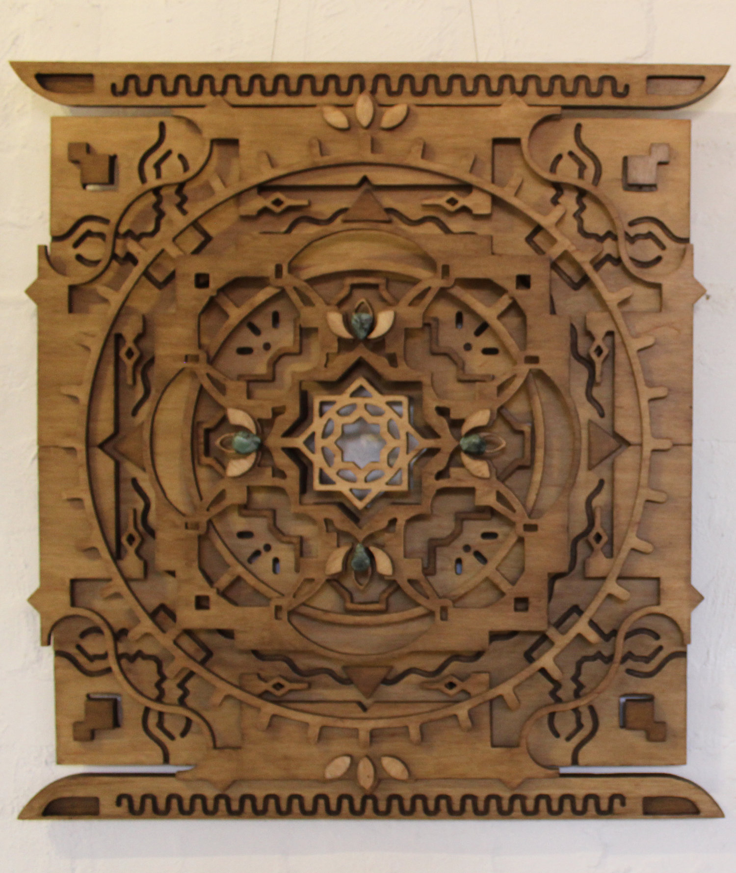 Dragons Gate - 2018 - Enquire Via hazelmandala@gmail.comCAN SHIP WORLDWIDELINK FOR PHOTOS & DESCRIPTIONhttps://www.hazelmandala.com/work/#/dragons-gate-v2/Dimensions 850mm x 750mmEmerald Stones on Front. $1800 AUD