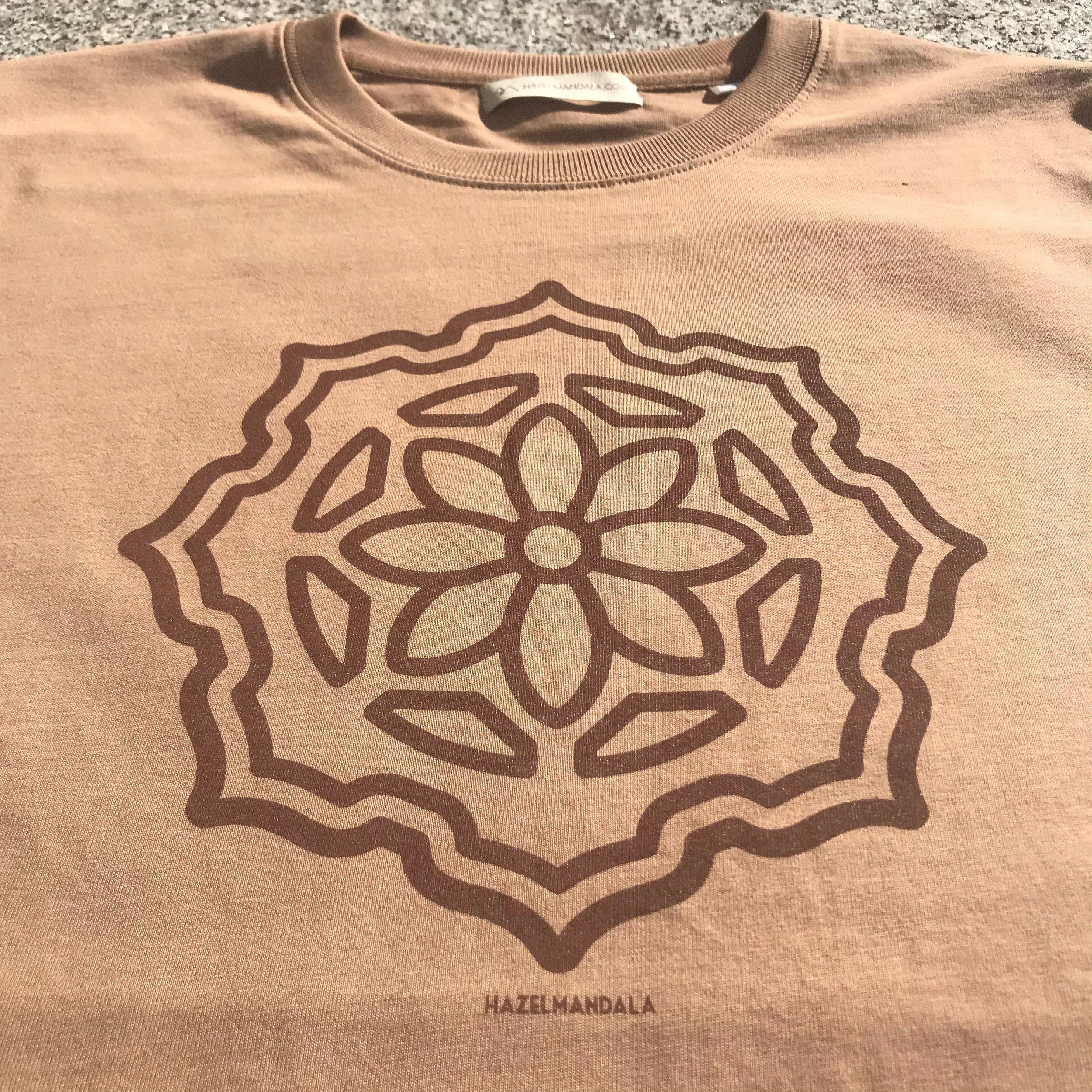 Hazel mandala Albzia shirt - The Huachuma Flower in bloom, Organic 100% Cotton. Stanley/Stella Sparker Thick Shirt. Created in Ethical & Ecological Ways . Sweatshop Free! Caramel Short Sleeve & Longsleeve Avaliable$40 AUD short sleeve , $45 Long sleeve + postage