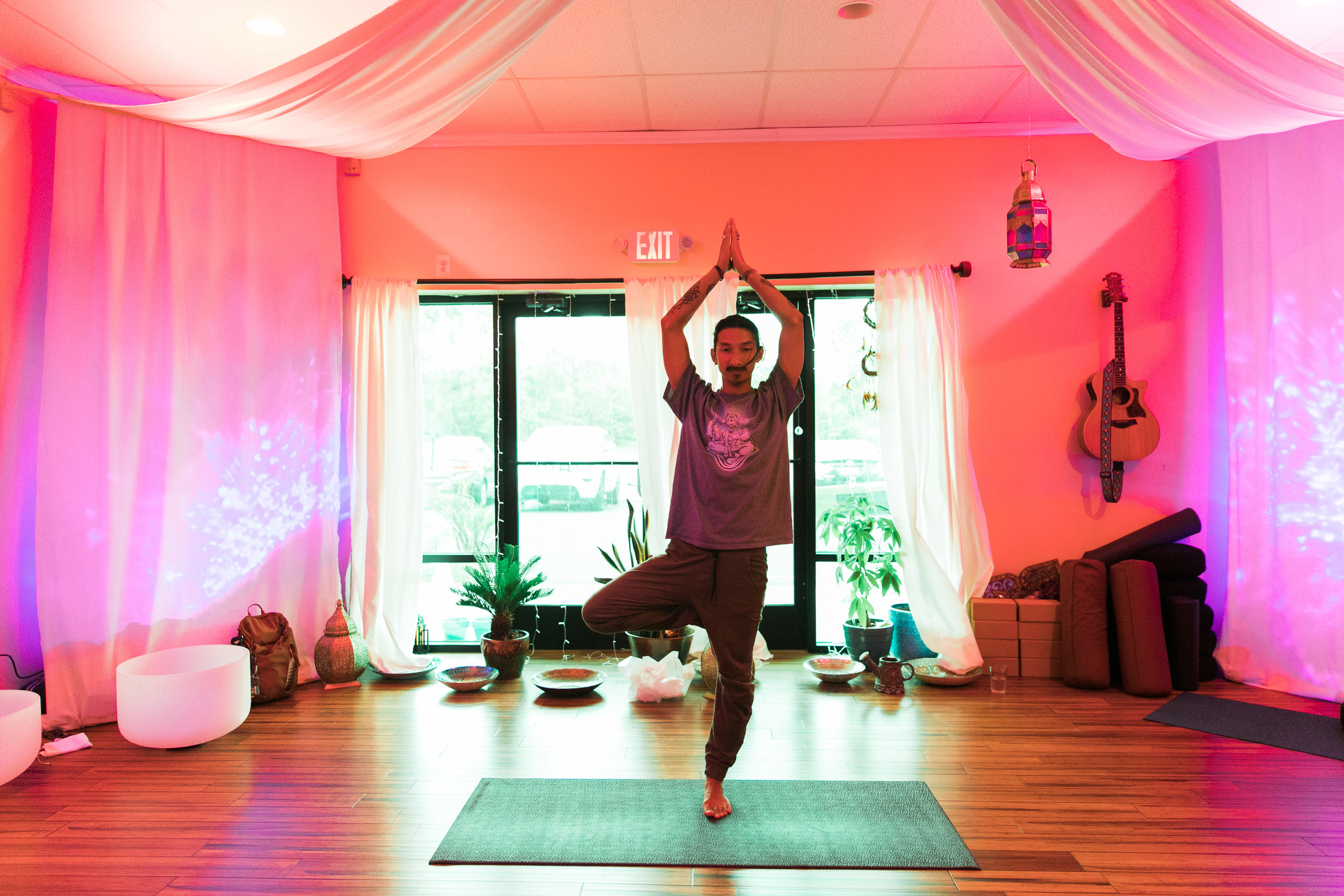 Beginners yoga in the Great Room at Float SNJ is great for mindfulness and flexibility practices.