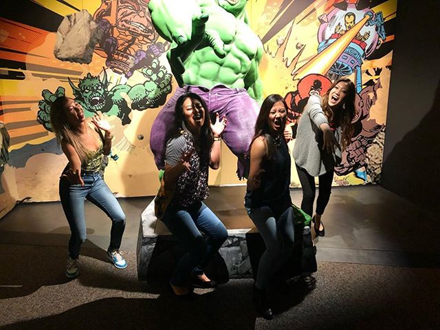 that time we thought we'd be cute and imitate the hulk, but the photographer cut off the head...rendering our photo pointless 🤷🏼♀️ #chartercheerios #philadelphia #marvel