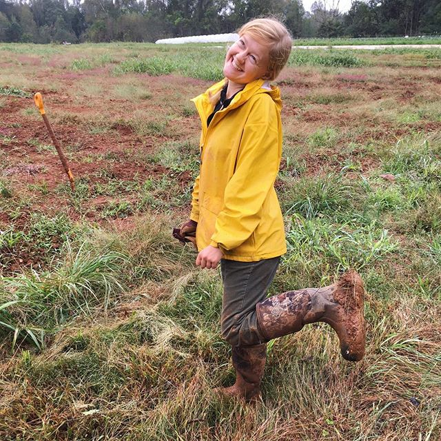Anna showin' off her updated fall fashion looks —Carolina Clay platforms (and the new farm plot!!) Just starting to work our land at the @breezeincubator farm right outside Hillsborough, NC! Stay tuned for more about our sweet lil beginning farm ✨