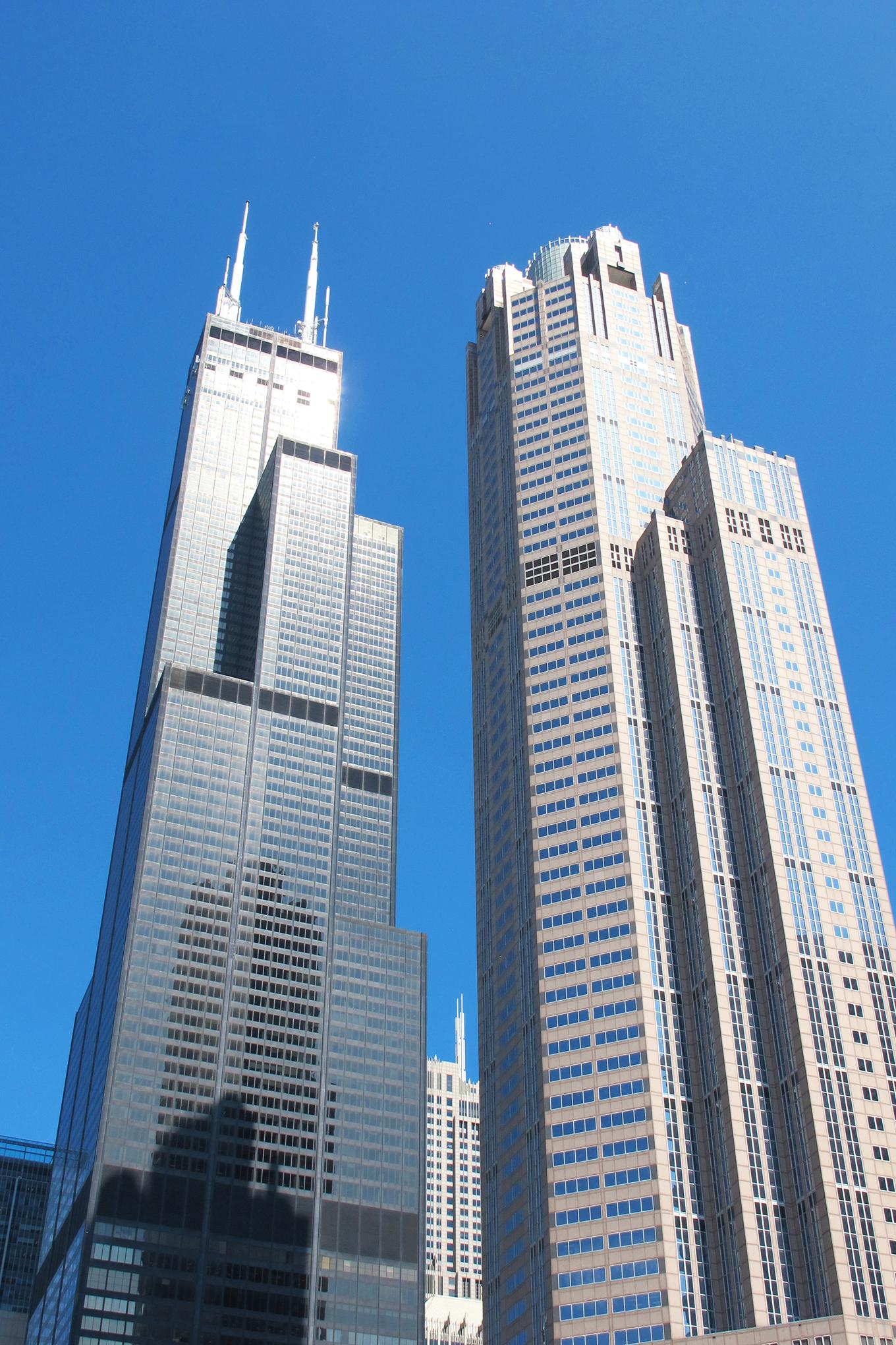 Left: The Willis (Sears) Tower, 1973, Architect: SOM; Right: 311 South Wacker, 1990 Architect Kohn, Pederson Fox