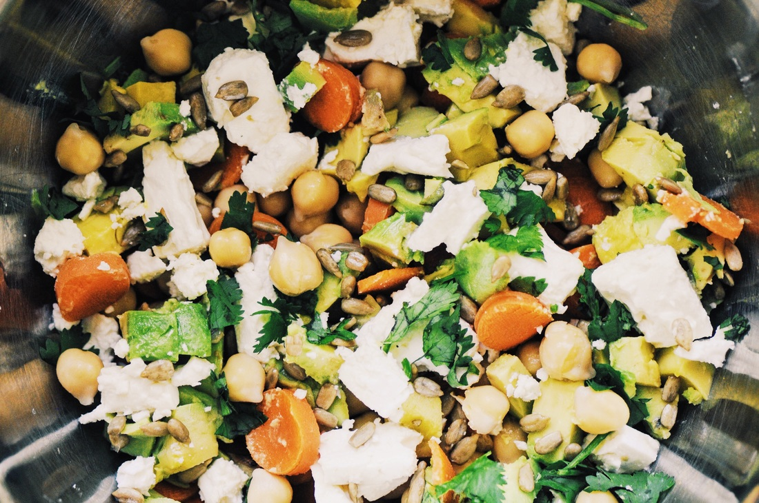 This delicious, healthy, high-protein Chickpea and Avocado Salad is taken to the next level with a flavorful Spiced Orange Vinaigrette Dressing! #chickpeasalad #avocadosalad #spiced #orangedressing #vinaigrette #vegan #glutenfree #salad #summer #healthy