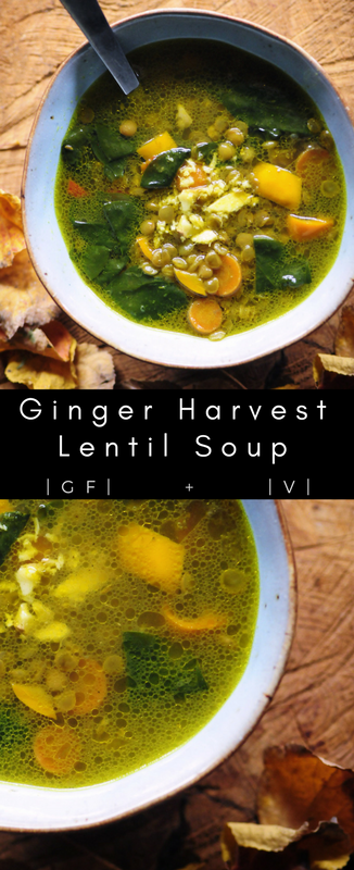 A hearty, healthy, comforting soup filled with nutritious brown lentils, ginger root, garlic, carrots, bell pepper, spinach and a delicious blend of spices. This gluten-free and vegan soup makes for one cozy & warming meal in the cooler months! #lentilsoup #gingersoup #autumn #vegansoup #healthy #easy #harvestsoup