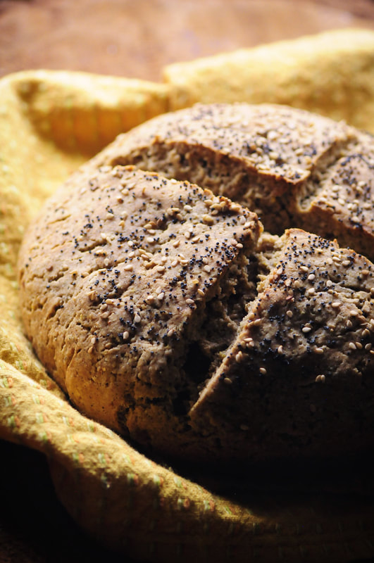 An easy, healthy and delicious gluten-free artisan bread (boule) made with a combination of brown rice, buckwheat, almond and tapioca flours. This beautiful yeasted bread will impress the pickiest of guests! #glutenfreebread #boule #artisanbread #glutenfree #brownriceflour #tapiocaflour #almondflour #buckwheatflour