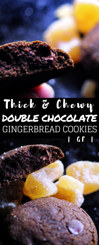 These gluten-free thick and chewy double chocolate gingerbread cookies make for the ultimate seasonal indulgence without any of the guilt! These delicious cookies are made with a blend of brown rice and almond flours, a touch of molasses, your favorite chocolate chips, and a bit of cacao powder. #glutenfreegingerbread #glutenfreecookies #chocolategingerbreadcookies #glutenfreechristmas