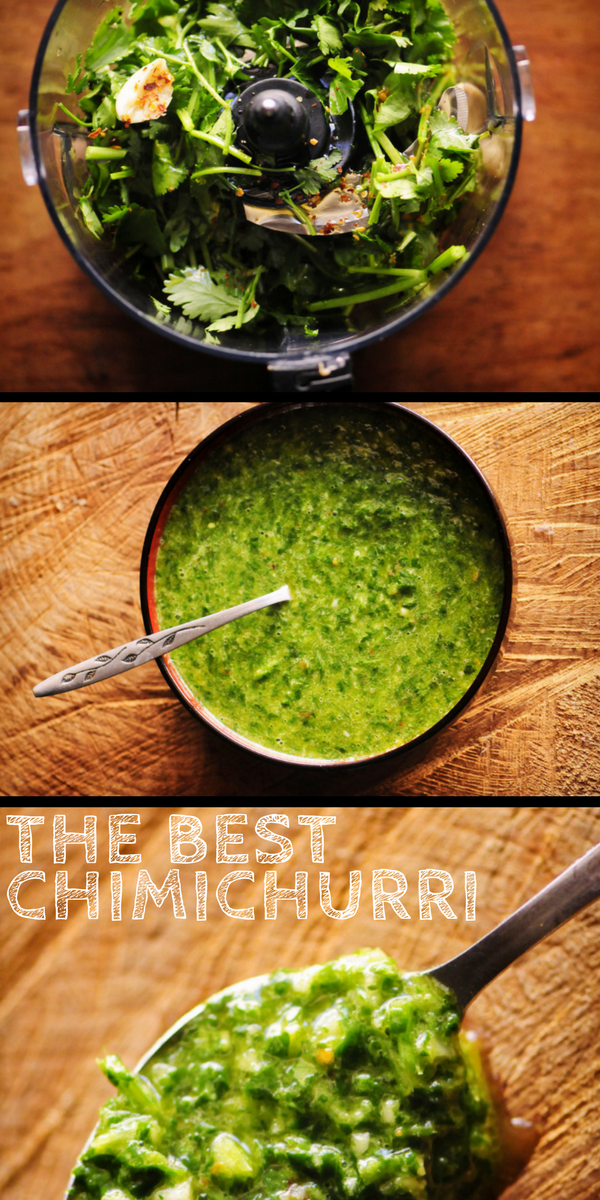 This quick and easy 9 ingredient Chimichurri Verde is my spin on the classic South American sauce! It contains a blend of parsley, cilantro, garlic, oil, vinegar and spices; and is BIG on flavor. You'll find yourself putting this delicious gluten-free & vegan sauce on everything -- this I can attest! #chimichurri #chimichurrisauce #chimichurriverde #southamerican #green #condiment #cilantrosauce #parsleysauce