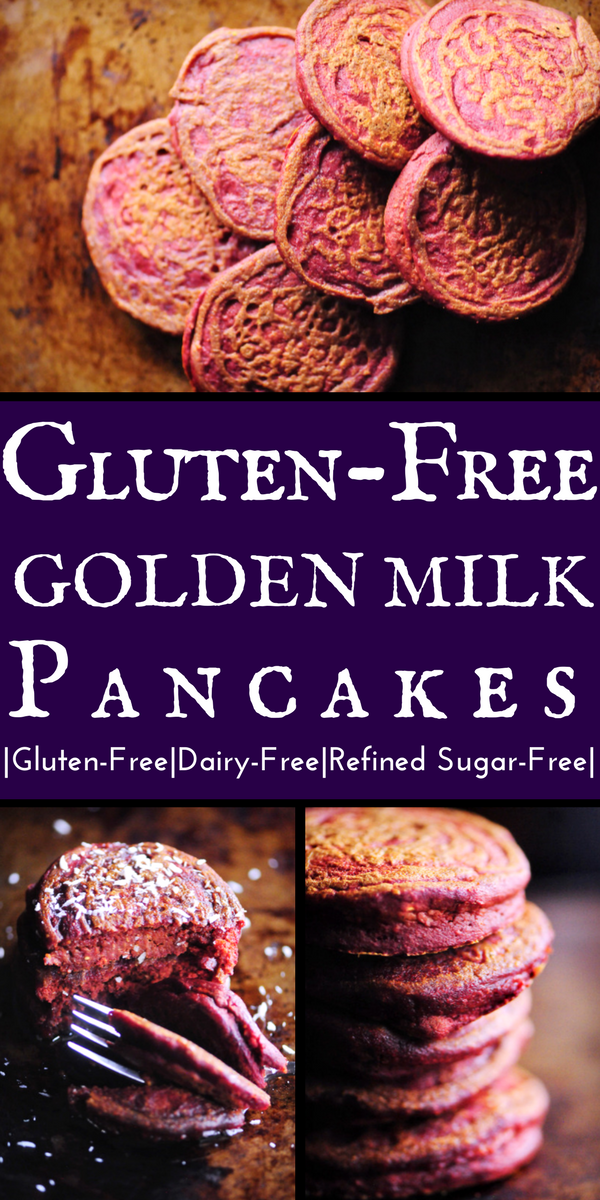 Incredibly fluffy and flavorful Gluten-Free Golden Milk Pancakes make for one fun, healthy and beautiful breakfast or brunch! They are gluten-free, dairy free, and free of refined sugars, too! #goldenmilkpancakes #goldenmilk #pinkpancakes #glutenfreepancakes #dairyfreepancakes