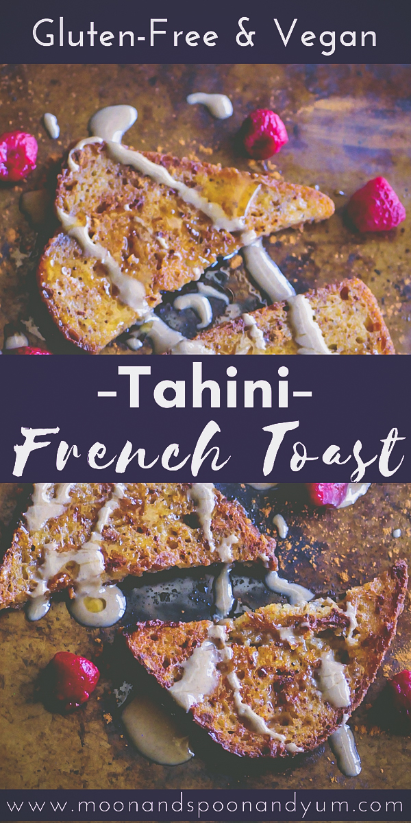 Easy, healthy, and delicious Vegan & Gluten-Free Tahini French Toast. This french toast makes for one perfect breakfast or brunch! #veganfrenchtoast #tahinifrenchtoast #veganbrunch #glutenfreefrenchtoast