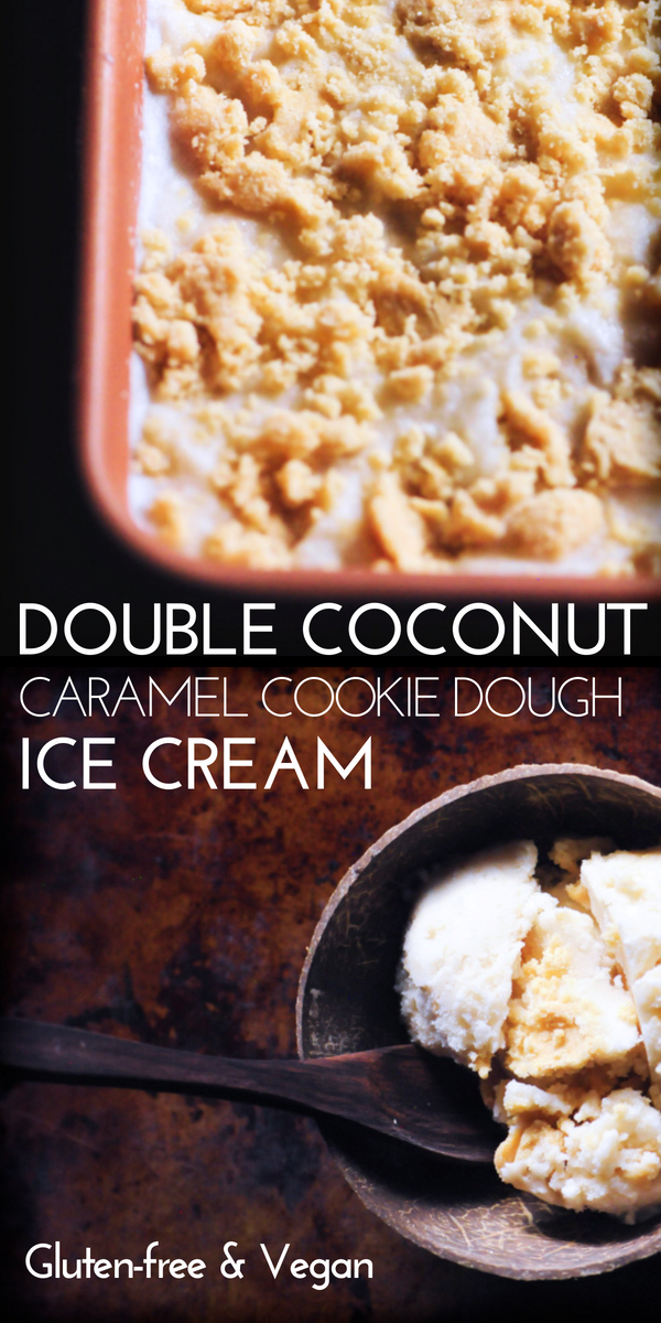 An easy, creamy and delicious Double Coconut Caramel Cookie Dough Ice Cream. A delightful vegan coconut ice cream base made with sweetened condensed coconut milk is studded with tasty and chewy gluten-free coconut caramel cookie dough bites in this frozen treat perfect for summer or any time of the year! #vegancookiedoughicecream #glutenfreecookiedoughicecream #coconutcookiedough #caramelcookiedough #coconuticecream #veganicecream #glutenfreecookiedough