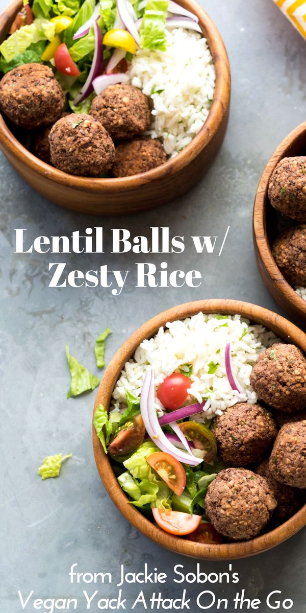 Cookbook Review Series 03: Vegan Yack Attack On the Go! by Jackie Sobon + Lentil Balls with Zesty Rice + A Giveaway #veganyackattack #cookbookreview #lentilballs #zestyrice