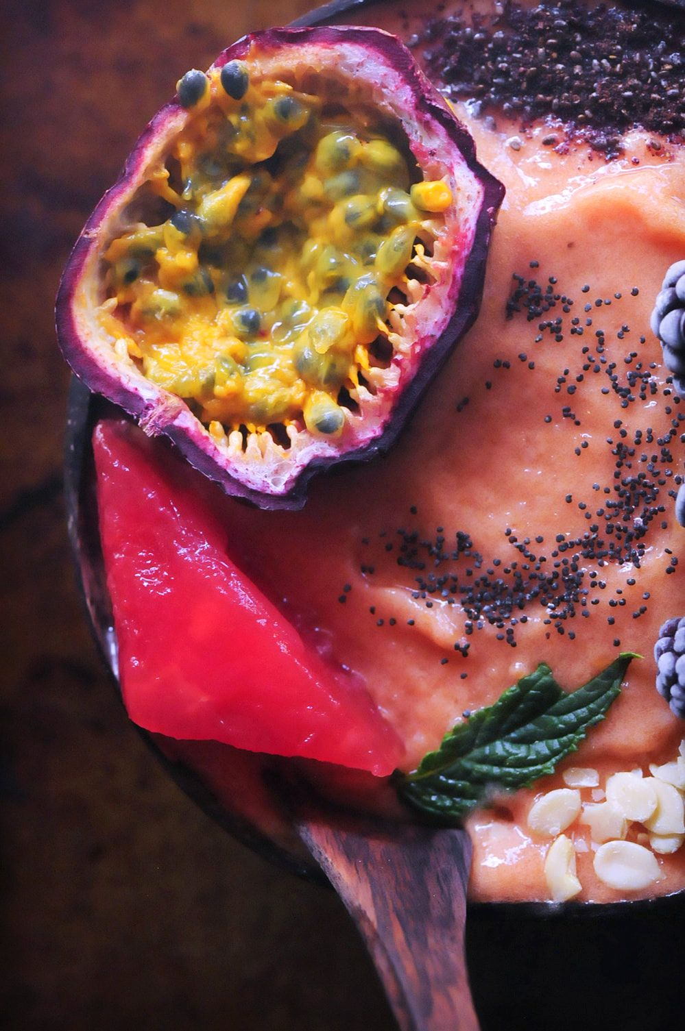A creamy, refreshing, healthy, easy and TASTY Papaya Watermelon Nice Cream Smoothie Bowl ripe for the toppings of your choice! Gluten-free & Vegan. #papayasmoothiebowl #watermelonsmoothie #nicecream #vegansmoothiebowl #pinksmoothiebowl #papayawatermelon #watermelonnicecream