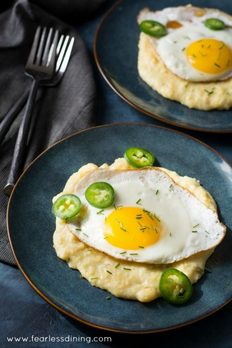 Cheesy Roasted Hatch Chile Grits With Fried Egg by Fearless Dining