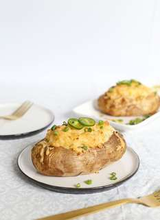 Cheesy Green Chile Twice-Baked Potatoes by Shrimp Salad Circus
