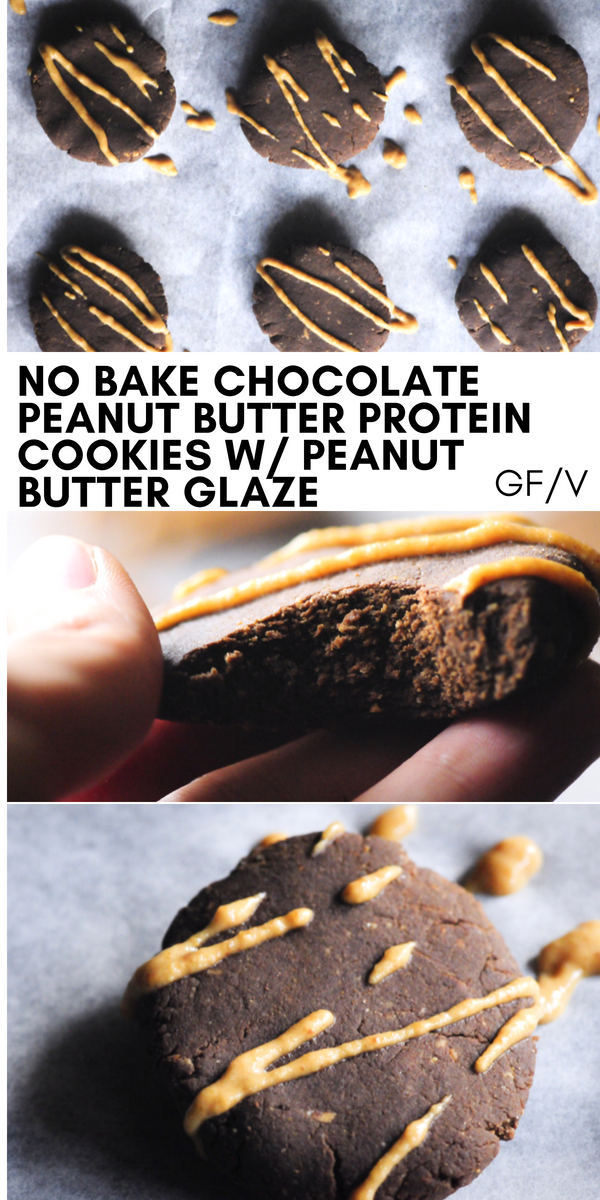 Easy, healthy, and delicious gluten-free & vegan No Bake Chocolate Peanut Butter Protein Cookies with a Peanut Butter Coconut Flour Glaze. These flavorful cookies will satisfy your sweet cravings without the use of refined sugar and provide the perfect energy boost any time of day! #nobakecookies #proteincookies #chocolatepeanutbuttercookies #glutenfreecookies #veganproteincookies #coconutflourcookies #peanutbuttercookies