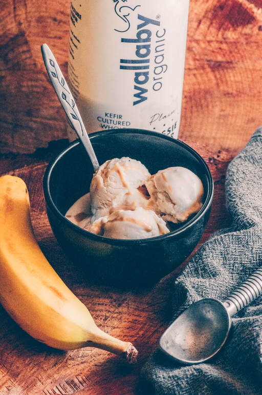 This Creamy Banana Tahini Kefir Ice Cream uses only 5 simple ingredients and no refined sugars to create an absolutely decadent, probiotic-rich, healthy treat perfect for any time of day! #kefiricecream #bananaicecream #tahiniicecream #healthyicecream