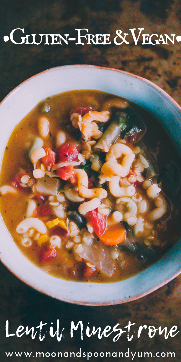 This high-protein Gluten-Free and Vegan Lentil Minestrone Soup is packed with hearty, healthy, and delicious ingredients and can be ready on the table in under 30 minutes! #glutenfreeveganminestrone #glutenfreevegansoup #glutenfreeminestronesoup #veganminestrone #lentilminestrone #lentilsoup