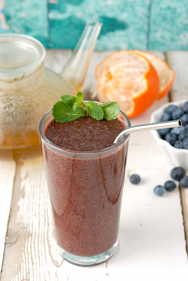 Green Tea Blueberry Ginger Antioxidant Smoothie by Boulder Locavore -