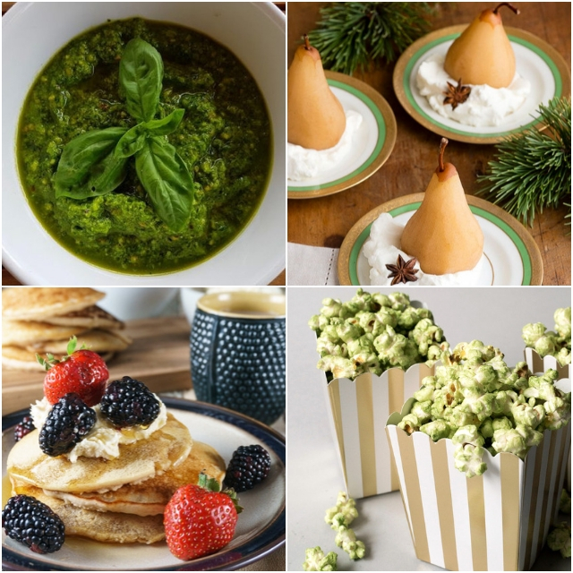 a four image grid of food photos incorporating tea