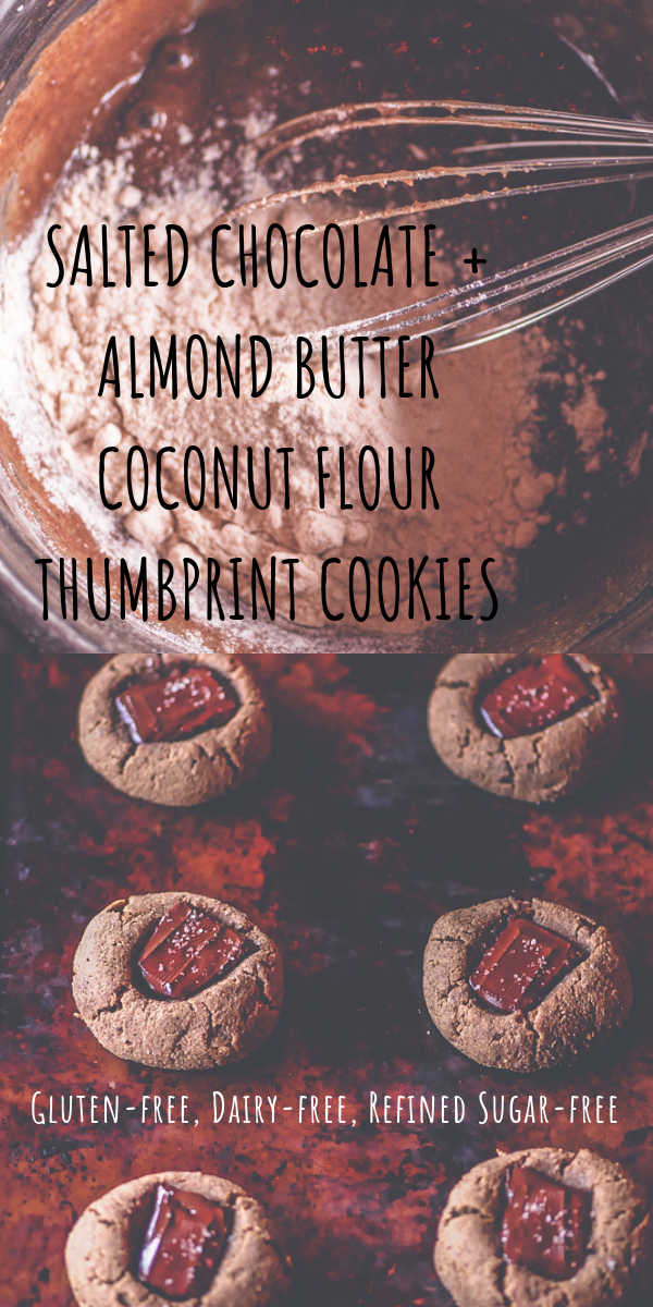 Perfectly soft, chewy and pillowy Gluten-Free Thumbprint Cookies made with coconut flour, cacao powder, chocolate chunks, almond butter and a dusting of sea salt. These delicious cookies are easy to make, free of refined sugar and make a great healthy treat any time of the day! #thumbprintcookies #glutenfreecookies #glutenfreethumbprintcookies #coconutflour #coconutflourcookies #almondbuttercookies #chocolatechunk