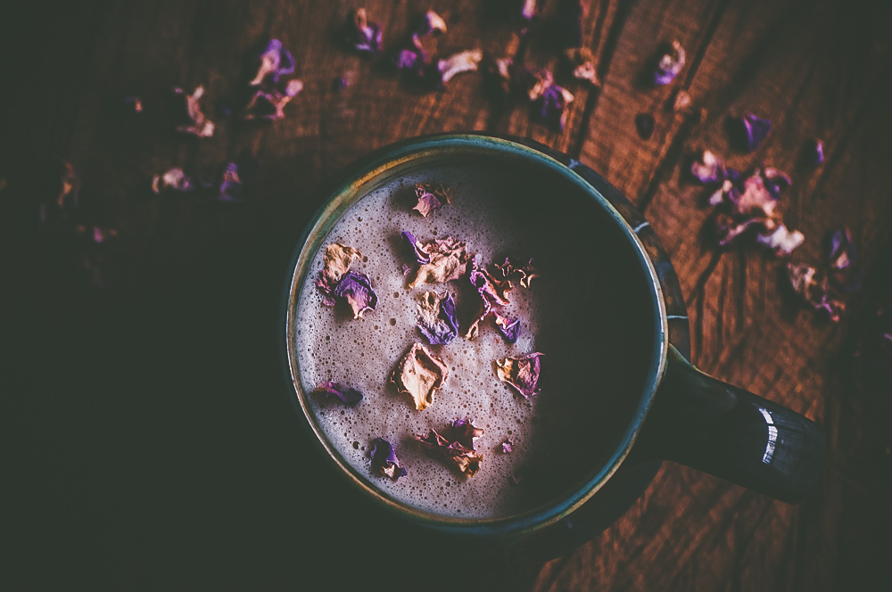 This Vegan Almond Rose Chai Tea Latte sweetened with only maple syrup is genuinely one of the tastiest things I have ever created. It is SO good. The hints of almond, rose, and maple paired with traditional chai spice flavors like cinnamon and cardamom truly makes for one ridiculously delicious, healthy, and comforting beverage! It's a bit on the enchanting side, too! #chaitea #chailatte #roselatte #almondrose #chaitealatte #veganchai #enchanting #moonmilk #veganlatte