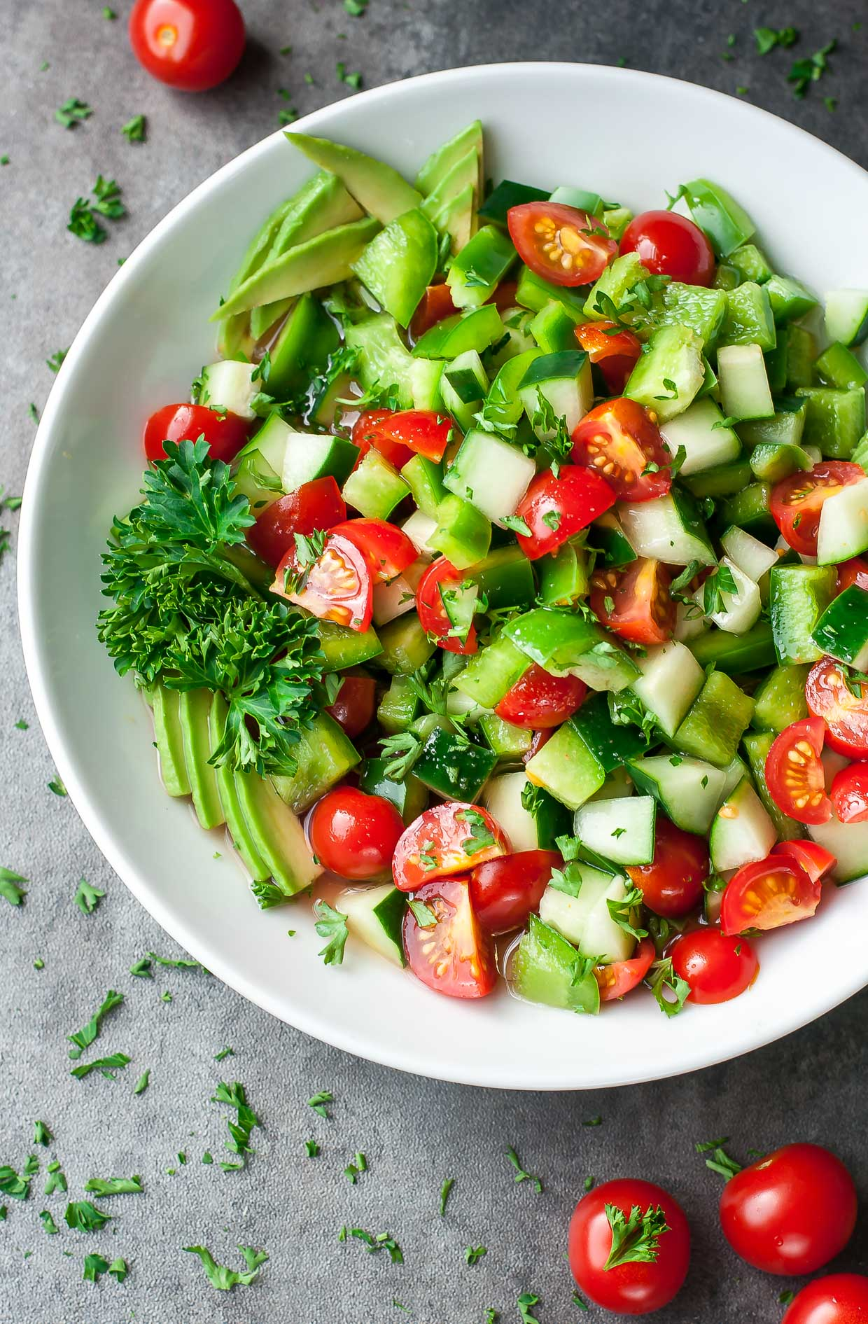 Healthy Tomato Cucumber Salad by Peas and Crayons -