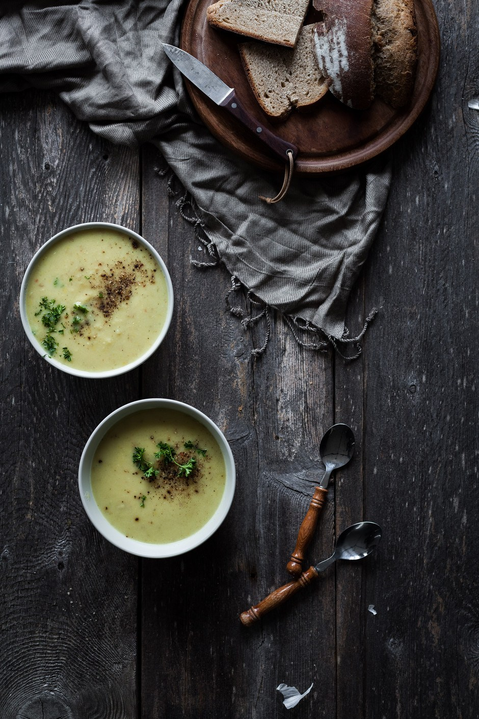 Creamy Winter Leek, Potato, & White Bean Soup by The Simple Green -