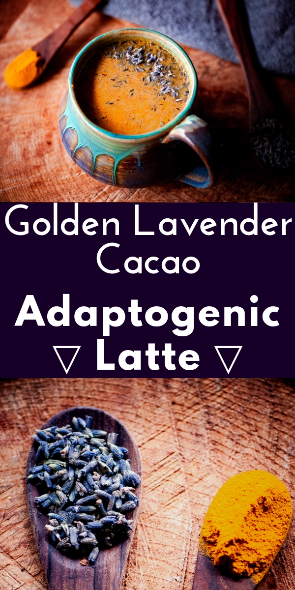 This Vegan Golden Lavender Cacao Adaptogen Latte was inspired by and uses  Rasa Koffee's amazing herbal coffee alternative adaptogen blends.  Their amazing Cacao Rasa is an adaptogenic formula with the addition of Ecuadorian cacao beans. This delicious latte contains amazing health fortifying ingredients such as lavender, turmeric, cinnamon, dandelion, ashwagandha, chaga, reishi and shatavari. #lavenderlatte #cacao #goldenmilk #veganlatte #moonmilk #rasakoffee #adaptogenlatte #adaptogens