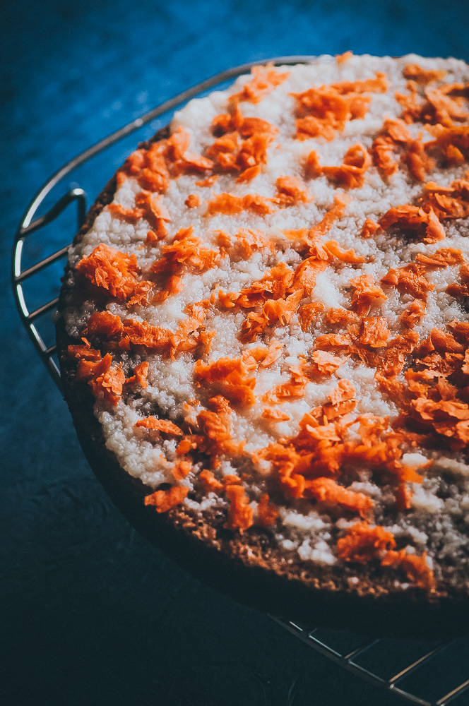 Gluten-Free Carrot Cake + Orange Coconut Butter Glaze (Dairy-Free) - Super EASY + HEALTHY Gluten-Free Carrot Cake that is dairy-free, refined sugar-free and DELICIOUS! Made with buckwheat flour and tapioca flour, this carrot cake is perfect for Easter or any occasion! #glutenfreecarrotcake #dairyfreecarrotcake #easycarrotcake #healthycarrotcake