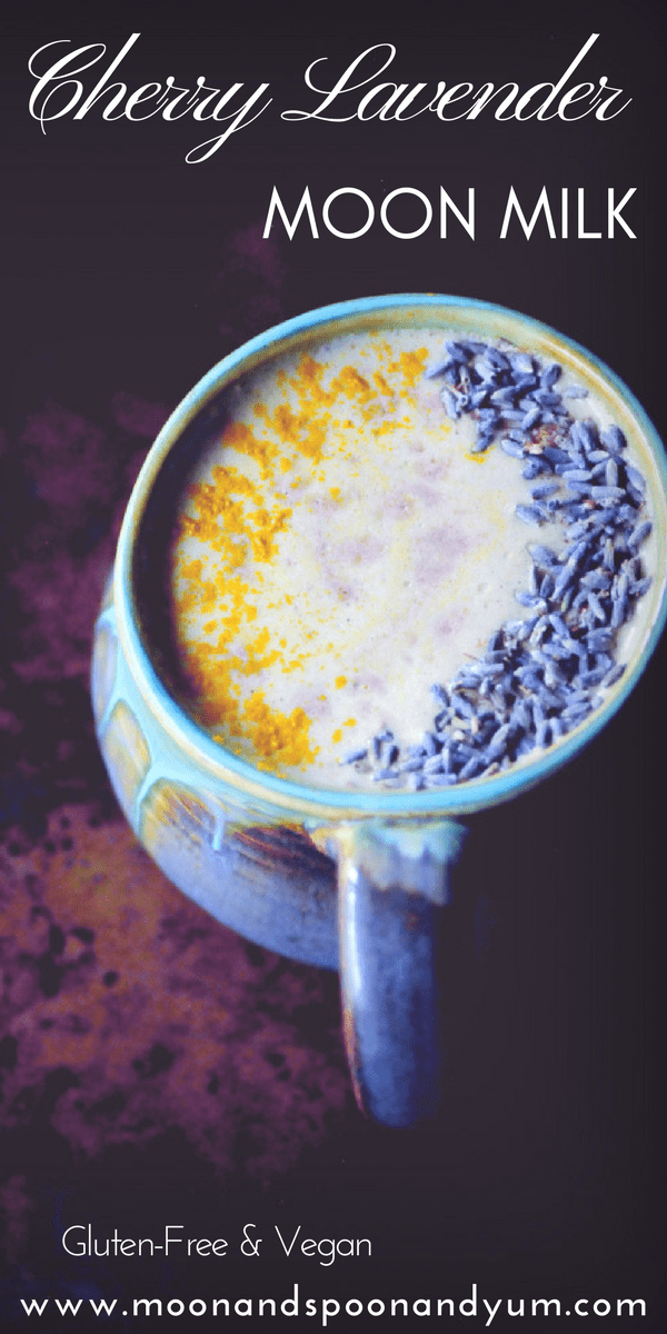 This Cherry Lavender Moon Milk makes for one creamy, delicious, calming and beautiful sleepy-time beverage for those evenings when you could use a little extra support. With a healthy blend of oats, walnuts, spices, sweet cherries, and plant-based milk, this warm and cozy drink makes for one comforting vegan gluten-free remedy with its roots in Ayurveda. #moonmilk #cherrymoonmilk #lavendermoonmilk #sleepdrink #elixir #ayurvedicdrink #veganmilk #lechedeluna