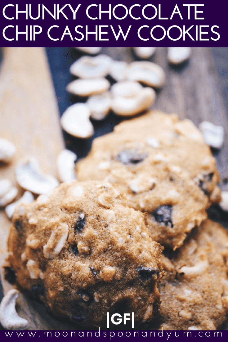 Chunky Chocolate Chip Cashew Cookies (Gluten Free) - Crispy, chewy, salty, and sweet Chocolate Chip Cashew Cookies that are gluten-free, only require one bowl and are super tasty and easy to make! | moonandspoonandyum.com #cookies #chocolatechip #cashew #chunky #baking #glutenfree