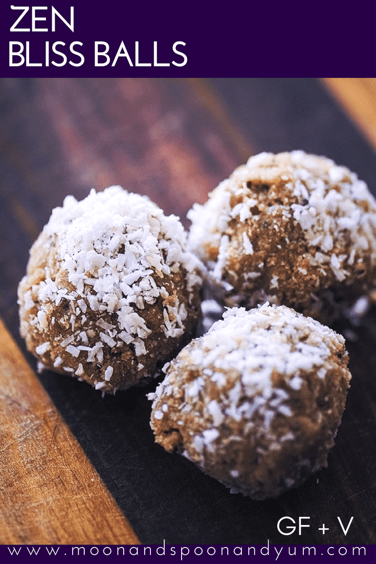 Zen Bliss Balls (Gluten Free, Vegan) - Easy, healthy and delicious Zen Bliss Balls made from coconut and sunflower seeds. The perfect gluten-free and vegan energy boosting snack! | www.moonandspoonandyum.com #sunflowerseeds #energyballs #blissballs #healthy #snack #coconut #zen #vegan #glutenfree