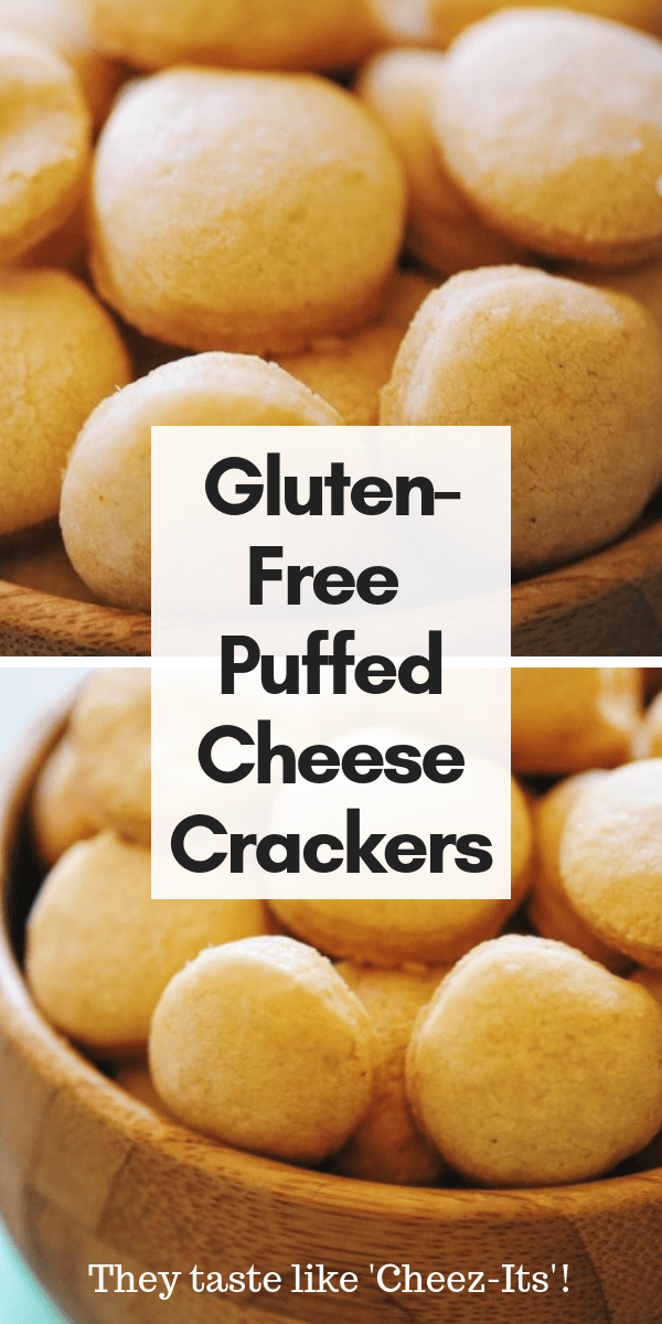 Super easy, cheesy, crispy, and delicious Gluten-Free Puffed Cheese Crackers that taste just like Cheez Its! These make the perfect kid-friendly snack! #glutenfreecrackers #glutenfreecheesecrackers #healthykidssnacks #glutenfreecheezits