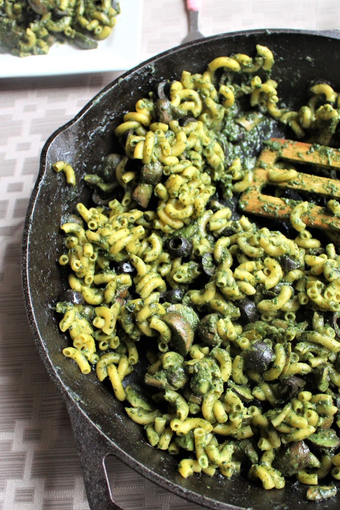 Spinach, Dandelion, and Mushroom Pasta by Superkid Eats -