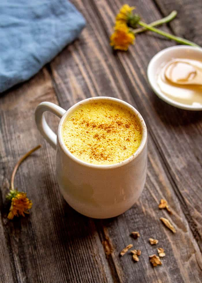 Dandelion Root Latte with Turmeric and Ginger by The Conscious Dietitian -