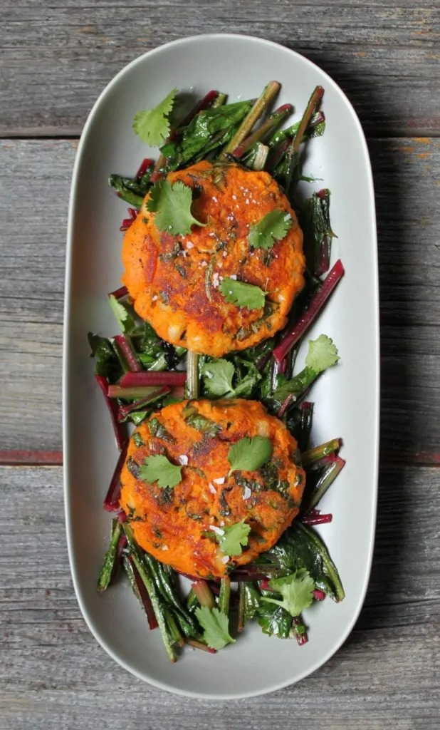 Sweet Potato Patties with Dandelion Greens by Dish 'n' the Kitchen -