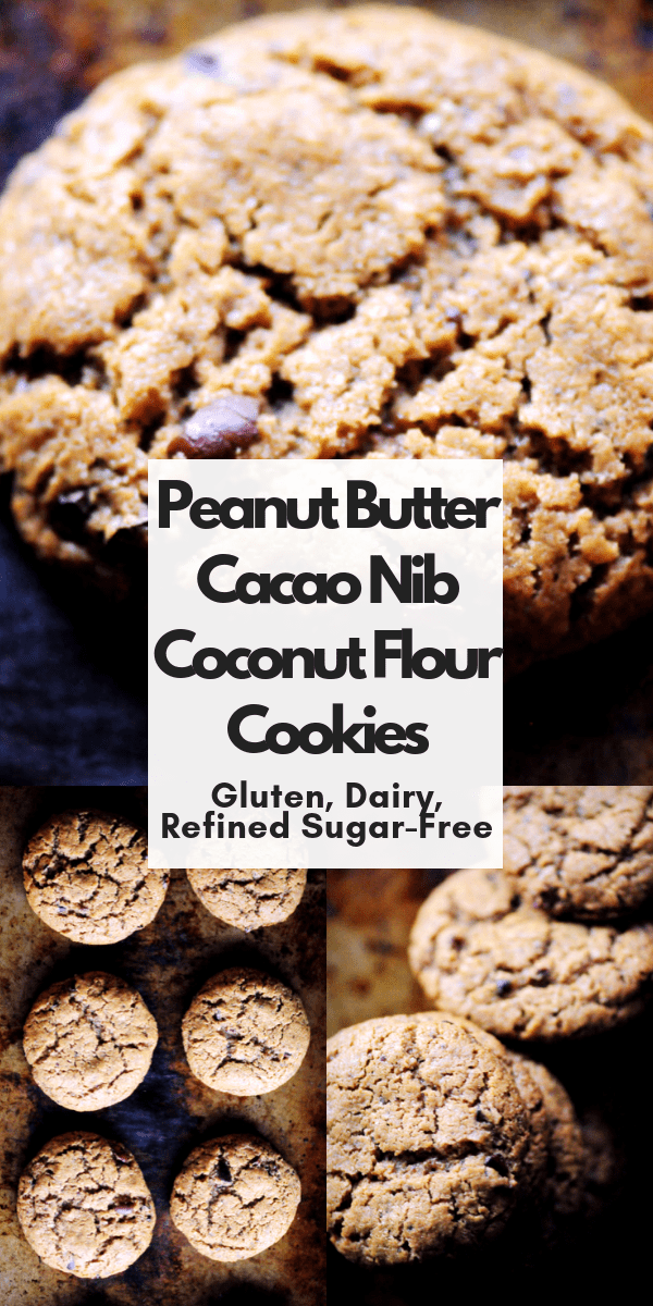Are you looking for an alternative to chocolate chip cookies? These peanut butter coconut flour cookies are easy, healthy, delicious, require just one bowl and make a perfect recipe for trying out cacao (cocoa) nibs! Gluten-free, Dairy-free, Refined sugar-free cookies that are perfectly chewy and oh so TASTY! #cacaonibcookies #coconutflourcookies #peanutbuttercookies #healthycookies #glutenfreecookies