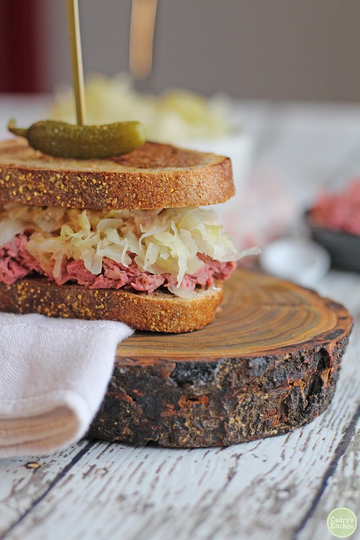 Vegan Reuben Jackfruit Sandwich with Thousand Island by Cadry's Kitchen -
