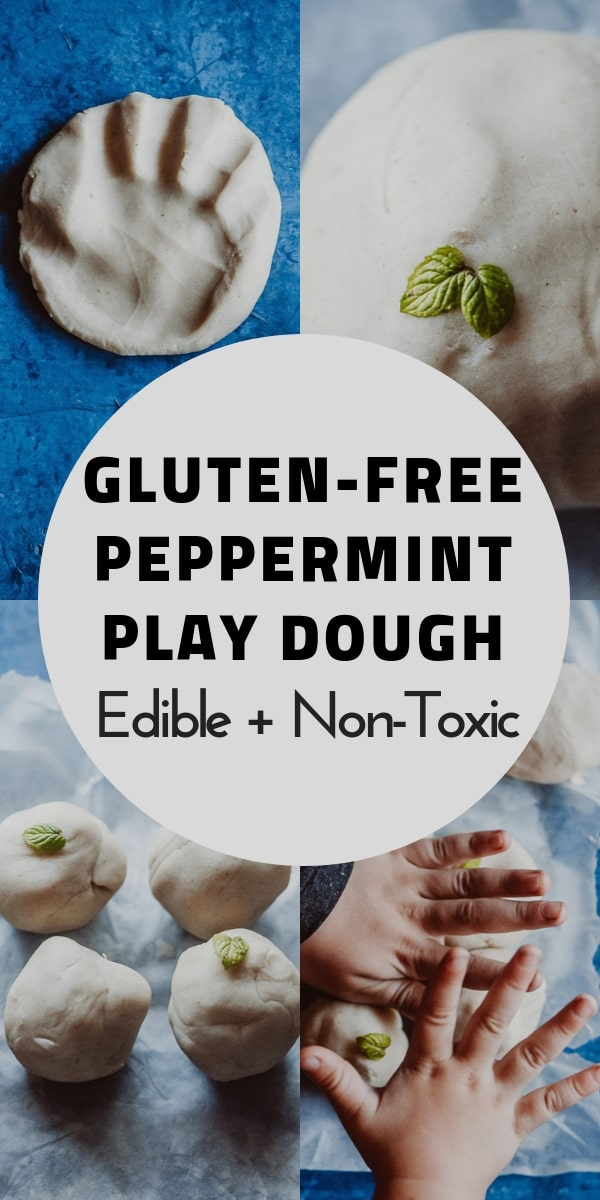 This natural homemade gluten-free playdough recipe is made with edible, non-toxic ingredients, including freshly harvested peppermint leaves for a fun sensory-rich play dough experience! Learn how to make this easy gluten-free play dough + learn all about the benefits of this healthy and beneficial indoor activity! This nature inspired crafts activity will please the pickiest of kids, + ease your worries with its safe and wholesome ingredients! #glutenfreeplaydough #edibleplaydough