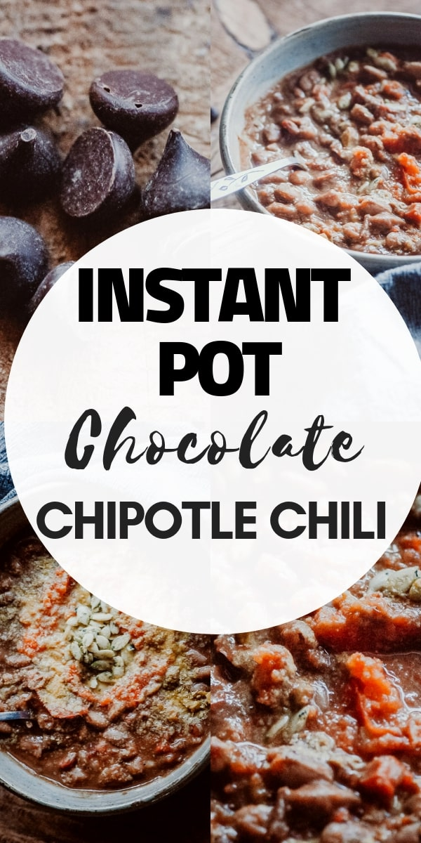 This easy vegan Instant Pot chili recipe is filled with spicy and smoky chipotle peppers, pinto beans and unsweetened chocolate lending this vegetarian chili a unique and flavorful twist. #instantpotchili #instantpotchilirecipe #instantpostvegetarianchili #instantpotchiliwithdrybeans #pintobeanchili #vegetarianchili #chocolatechili #veganchilie #Pressurecookerchili