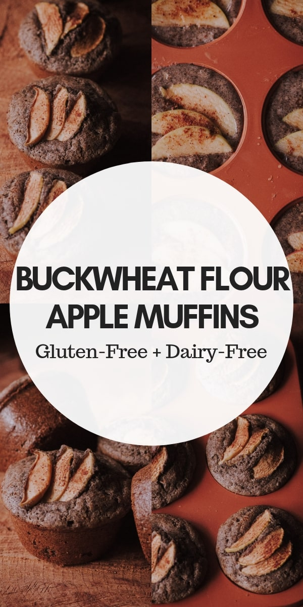 These easy, healthy and delicious Gluten-Free Apple Buckwheat Flour Muffins are full of fiber, protein, the perfect blend of spices and are free from refined sugars making them a great breakfast, snack or dessert! #buckwheatmuffins #glutenfreeapplemuffins #breakfastmuffins #applebuckwheatmuffins #glutenfreemuffins #buckwheatflour #refinedsugarfree
