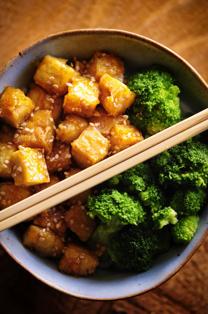 Sticky Maple Ginger Tofu Noodle Bowl by MOON and spoon and yum -