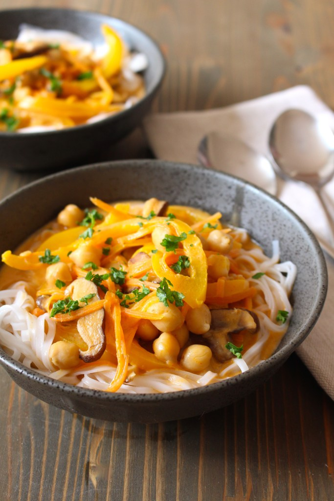 Thai Red Curry Coconut Soup with Rice Noodles by Frugal Nutrition -