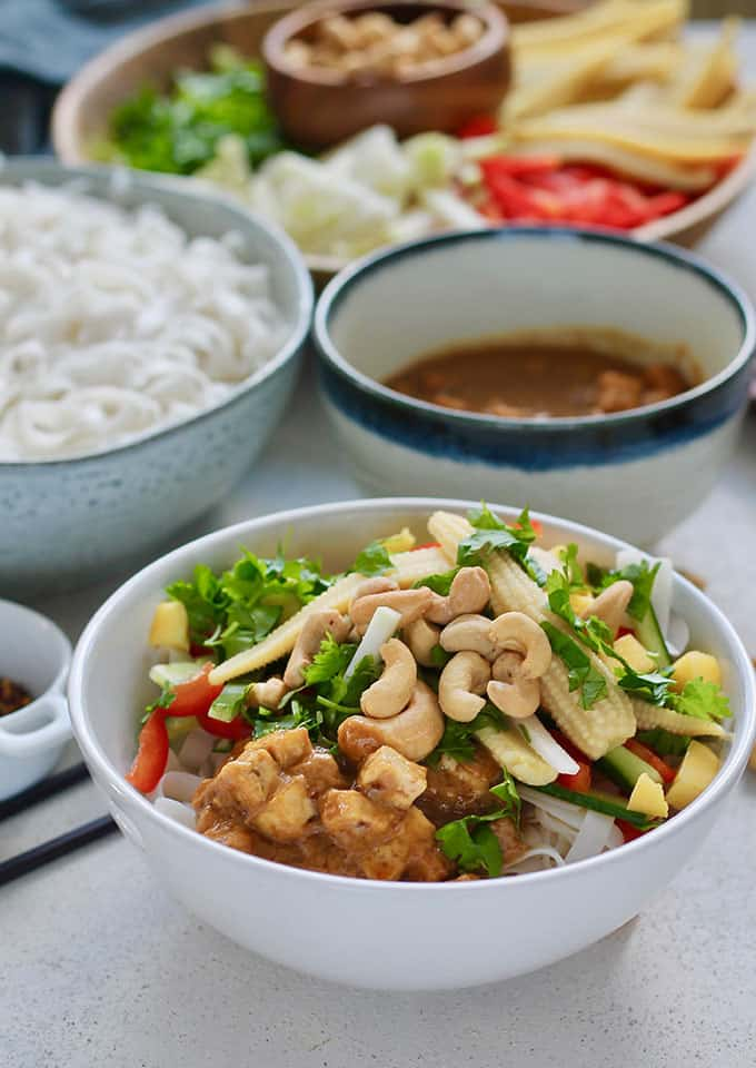 Cold Rice Noodle Salad Bowl with Cashews by Hey Nutrition Lady -