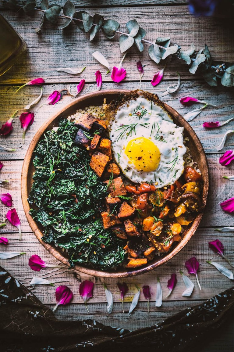Savoury Breakfast Bowl with Egg, Kale & Sweet Potato