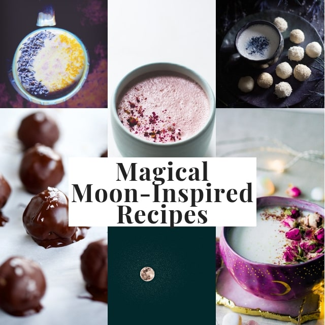 15 Magical Moon Inspired Recipes — moon milk, moon salad, moon cookies, moon balls, moon cake and MORE! This gluten-free vegetarian lunar inspired recipe round has all you need for a full moon or lunar eclipse party or to simply please the moon love in YOU! #moonmagick #moonrecipes #lunarrecipes #lunareclipsefood #fullmoonparty