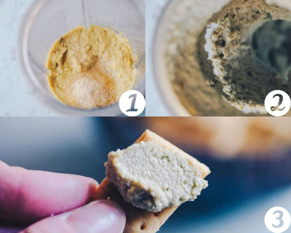 How to Make Vegan Cheese step by step process shots - This super creamy and flavorful vegan cheese is made with sunflower seeds, pumpkin seeds or a blend for a super quick, easy and versatile vegan cheese recipe that is vegan, dairy-free, soy-free, nut-free, sugar-free and KETO! #vegancheese #vegancheeserecipe #seedcheese #easyvegancheese #vegancreamcheese